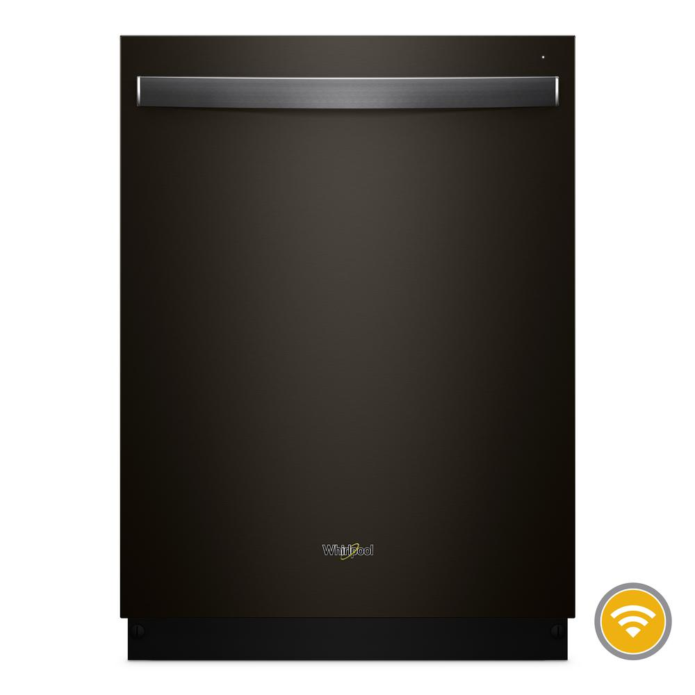 Whirlpool Top Control Smart Built-In Tall Tub Dishwasher in Black Stainless with Stainless Steel Tub, 47 dBA, Black Stainless Steel Clean your dishes from anywhere with this stainless steel smart dishwasher. Take advantage of 37% more rack space with the third level rack. Then download specialty and customized cycles from your appor choose the Sensor cycle and let your smart dishwasher pick the right cycle for you. Finish up with dry dishes thanks to the stainless-steel tub. Color: Black Stainless Steel.