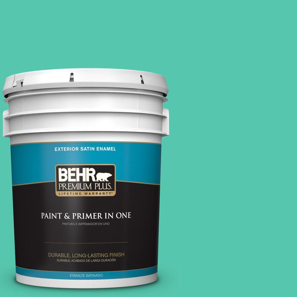 5-gal. #480B-4 Shoreline Green Satin Enamel Exterior Paint