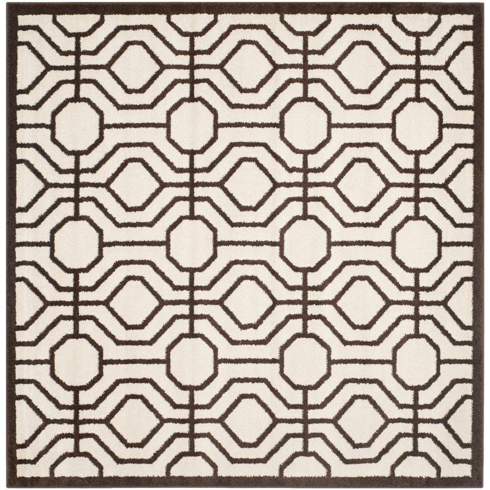 Safavieh Amherst Ivory/Brown 7 ft. x 7 ft. Indoor/Outdoor Square Area Rug