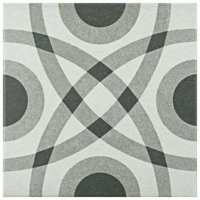 Twenties Circle 7-3/4 in. x 7-3/4 in. Ceramic Floor and Wall Tile