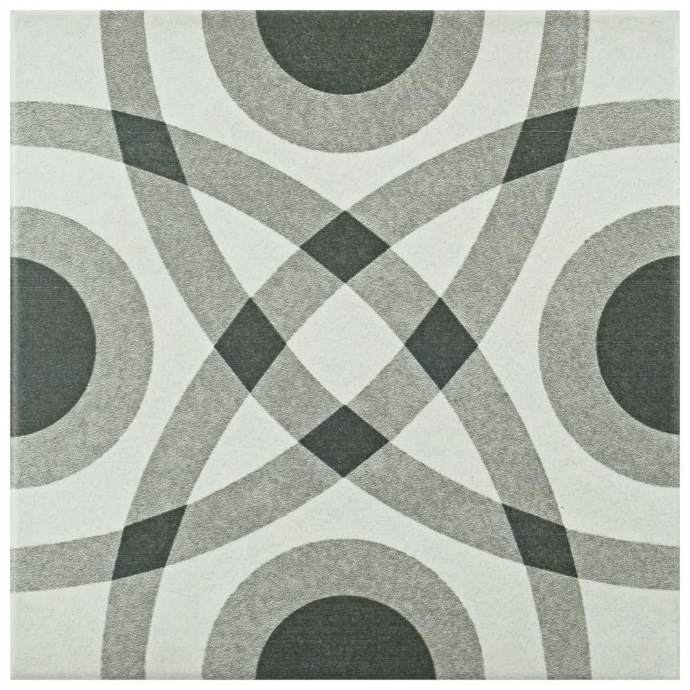 Twenties Circle 7-3/4 in. x 7-3/4 in. Ceramic Floor and Wall Tile