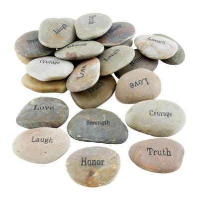 Inspirational Engraved Natural River Stones (Set of 25)