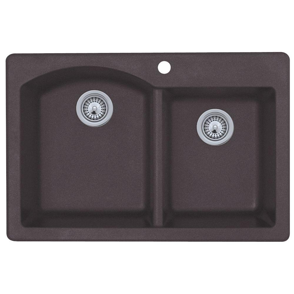 Granite Double Bowl Kitchen Sink: Swan Drop-In/Undermount Granite 33 In. 1-Hole 55/45 Double