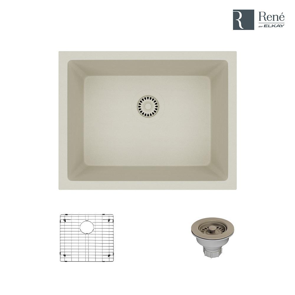 Dual-mount Composite Granite 21-5/8 in. Single Bowl Kitchen Sink in Concrete