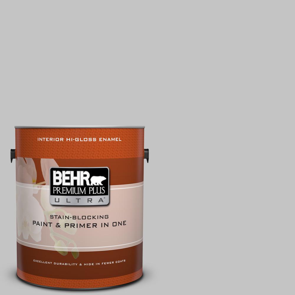 BEHR Premium Plus Ultra 1 gal. #N520-2 Silver Bullet Hi-Gloss Enamel Interior Paint and Primer in One