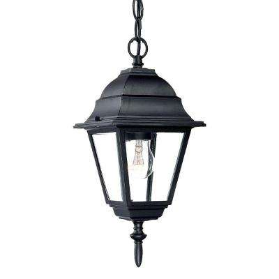 Builder's Choice Collection 1-Light Matte Black Outdoor Hanging Lantern