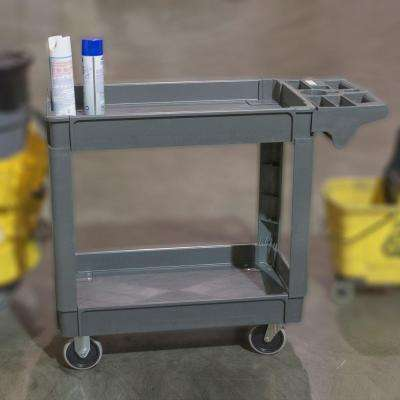 2-Shelf Heavy Duty 4-Wheeled Utility Service Cart in Gray with 550 lb. Capacity