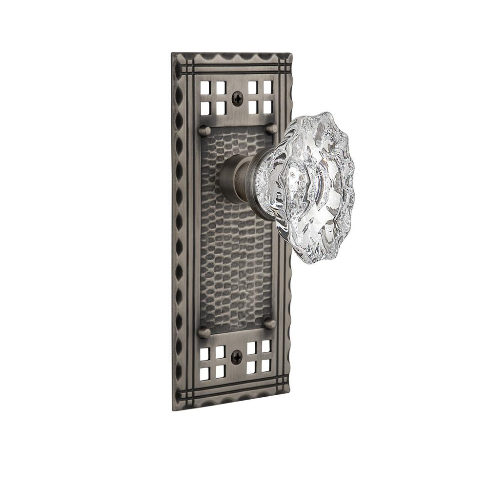 Craftsman Plate 2-3/8 in. Backset Antique Pewter Privacy Chateau Door Knob