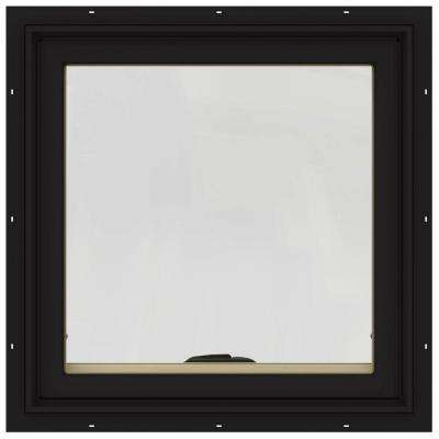 24 in. x 24 in. W-2500 Series Black Painted Clad Wood Awning Window w/ Natural Interior and Screen