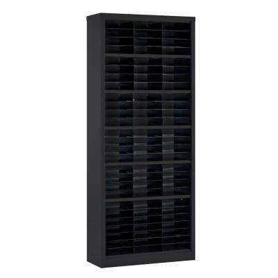 84 in. H x 34.5 in. W x 13 in. D Steel Commercial Literature Organizer Shelving Unit in Black