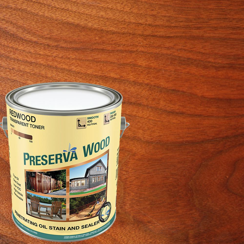 Preserva Wood 1 gal. 100 VOC Oil-Based Redwood Penetrating Exterior Stain and Sealer