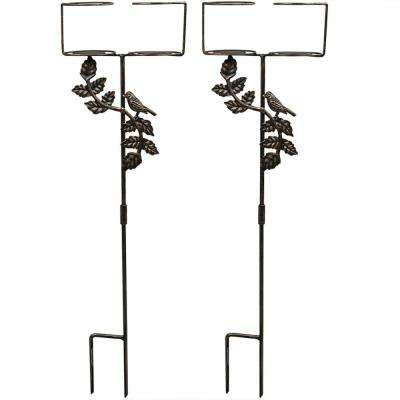 Dual Outdoor Drink Holders with Bird Decorative Accents (Set of 2)