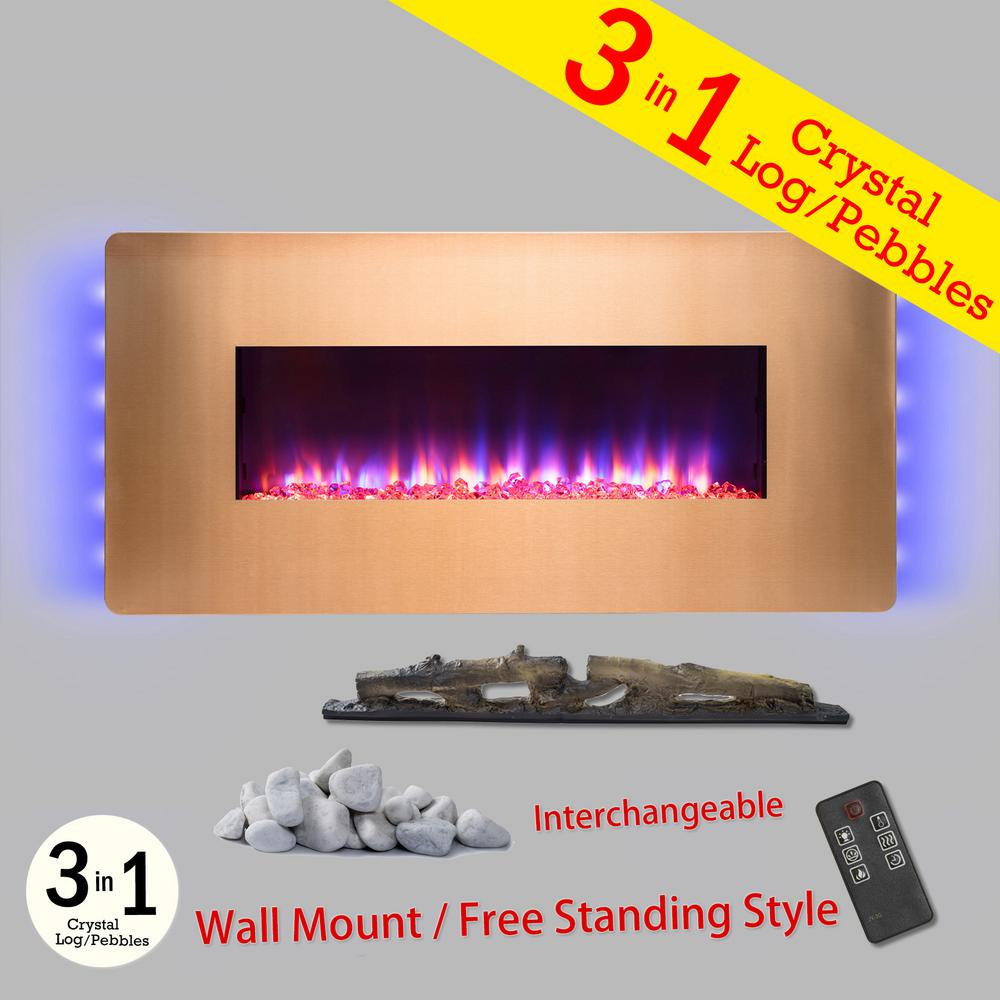 36 in. Wall Mount Freestanding Convertible Electric Fireplace Heater in Gold