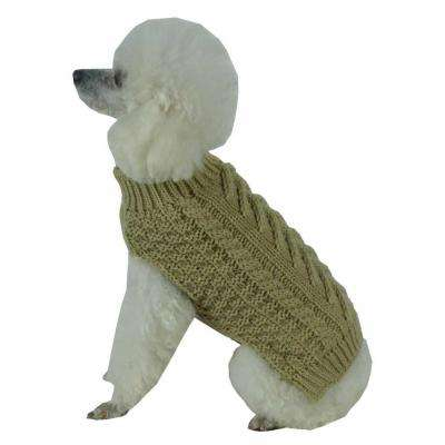 Small Tan Brown Swivel-Swirl Heavy Cable Knitted Fashion Designer Dog Sweater