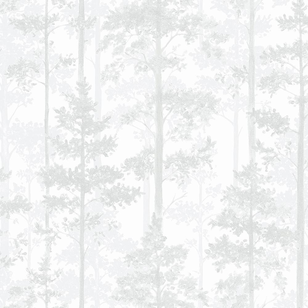 57.8 sq. ft. Pine Off-White Silhouette Trees Wallpaper