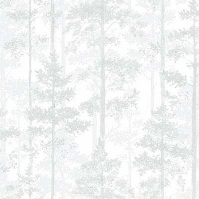 8 in. x 10 in. Pine Off-White Silhouette Trees Wallpaper Sample