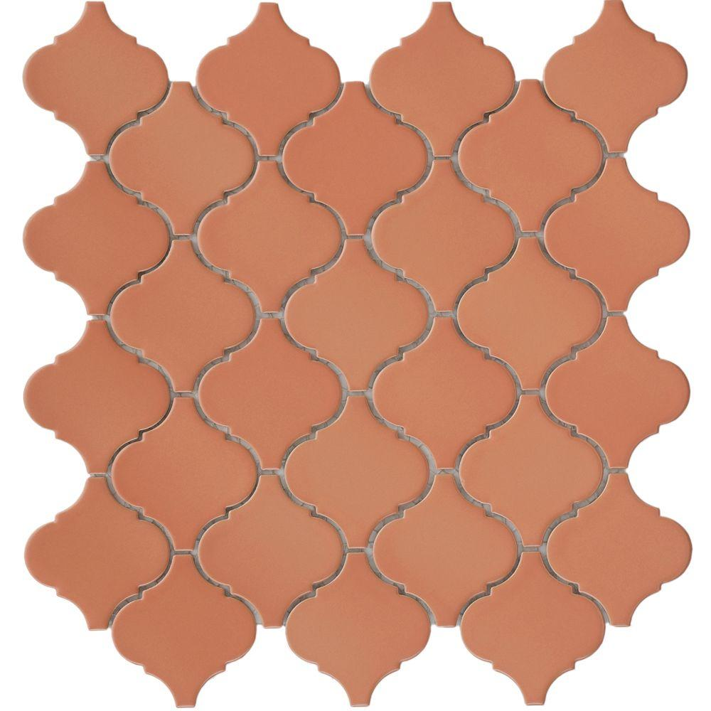 Merola Tile Lantern Cotto 12-1/2 in. x 12-1/2 in. x 5 mm Porcelain Mesh-Mounted Mosaic Tile (11 sq. ft. / case)
