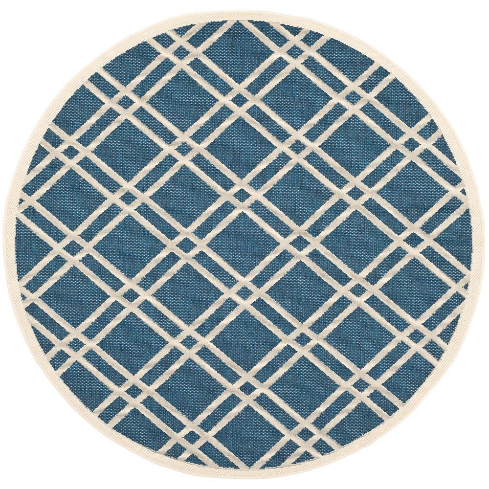 safavieh courtyard navy beige 4 ft x 4 ft indoor outdoor round area rug cy6923 268 4r the. Black Bedroom Furniture Sets. Home Design Ideas