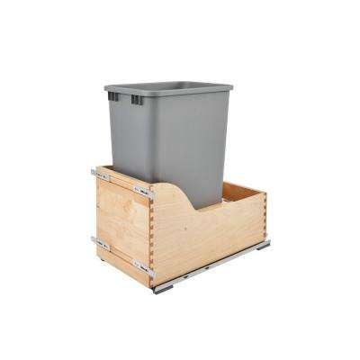 23.38 in. H x 12 in. W x 21.75 in. D Single 50 Qt. Pull-Out Bottom Mount Wood and Silver Waste Container with Soft-Close