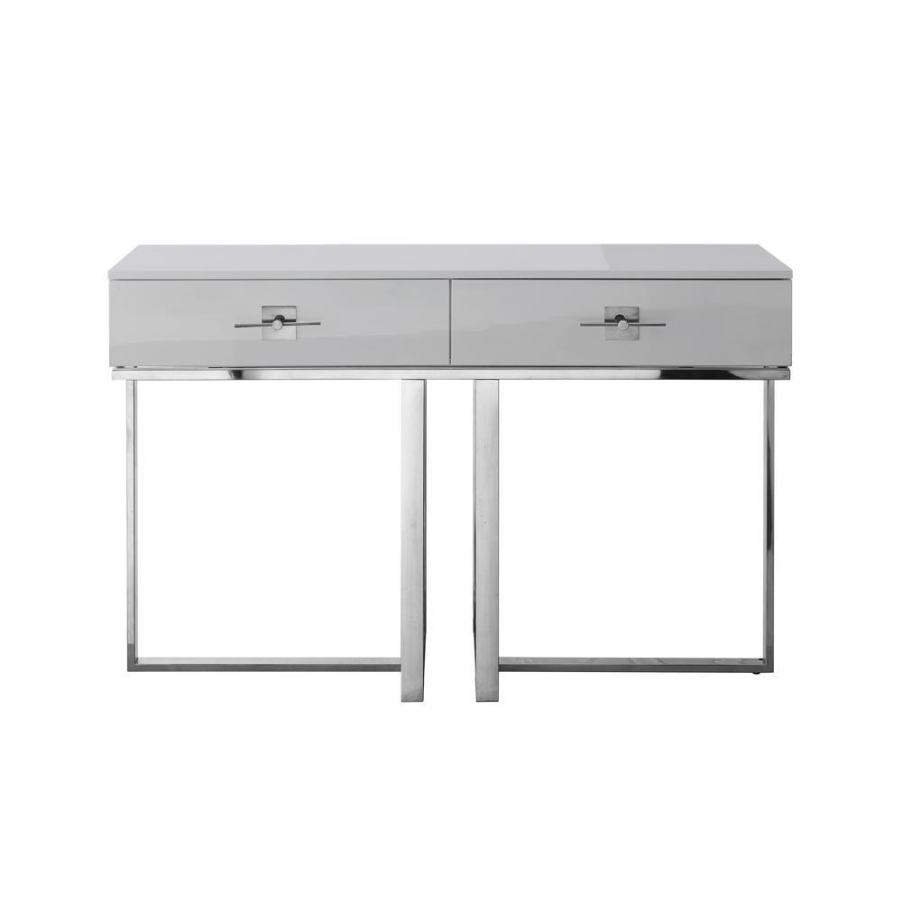Maui Light Grey/Chrome Console Table 2-Drawers