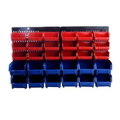 30-Compartment Wall Mounted Parts Rack and Small Parts Organizer with Removable Bins