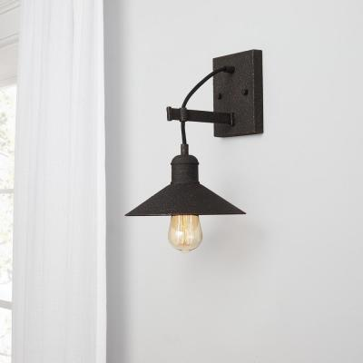 Halstead 10 in. 1-Light Vintage Bronze Wall Sconce with Metal Shade