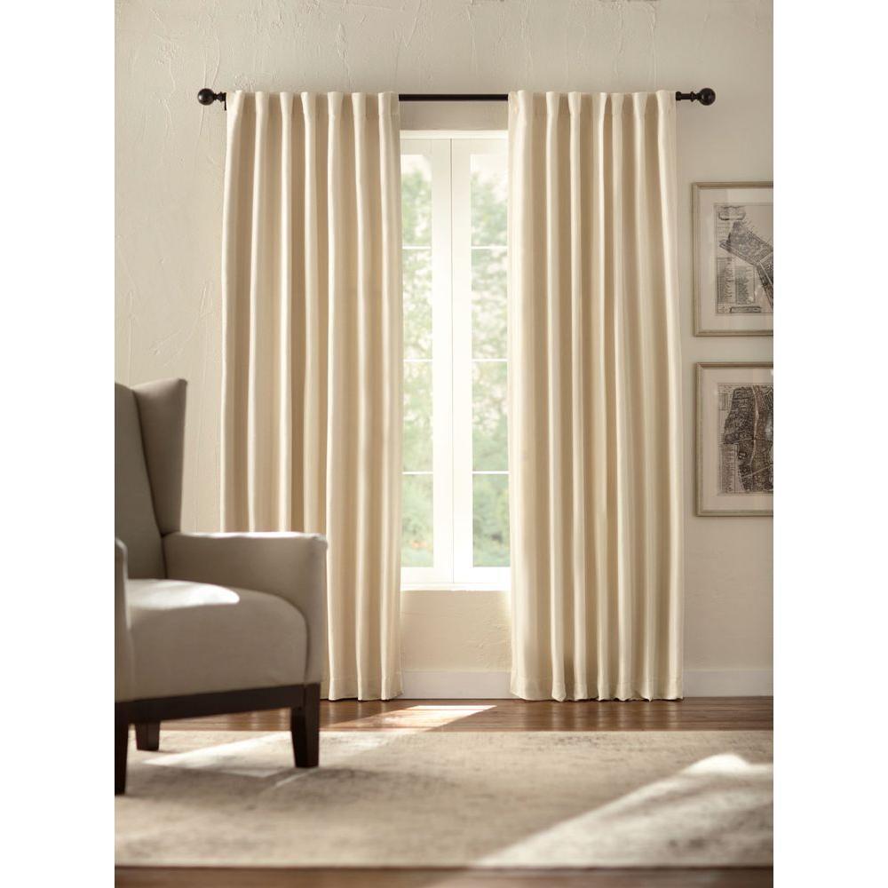 Semi-Opaque Room Darkening 95 in. L Polyester Curtain Panel in Cream