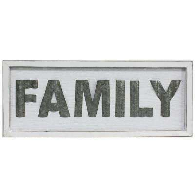 Family White Rustic Wood Sign