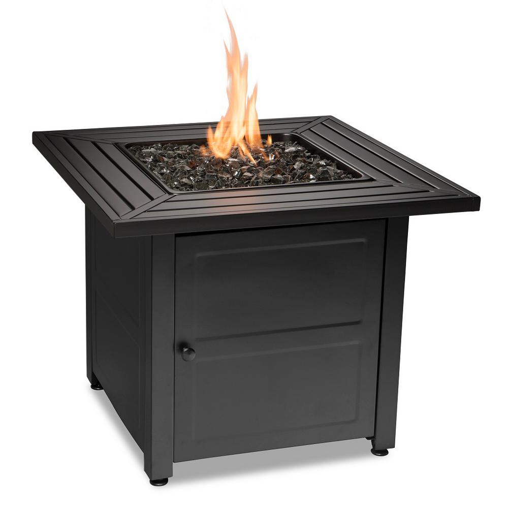 Endless Summer 30 in. W Black Weather Resistant Steel LP Gas Outdoor Fire Pit with Electronic Ignition and Black Fire Glass