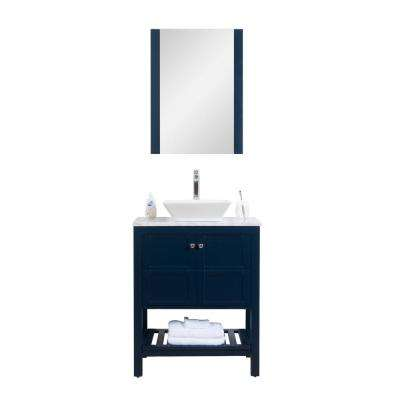 Manhattan 30 in. W x 18 in. D Vanity in Navy with Marble Vanity Top ,White Basin and Mirror
