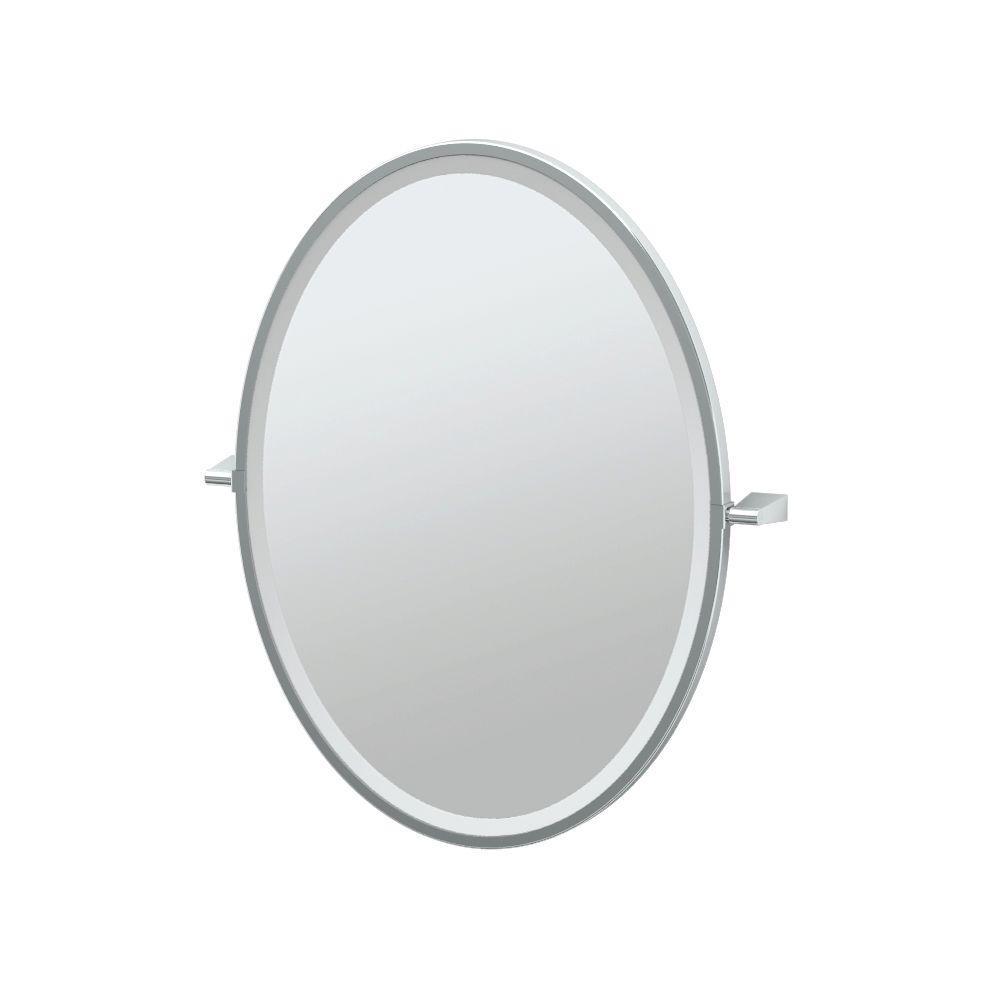 Gatco Bleu 24 in. x 28 in. Framed Single Oval Mirror in Chrome