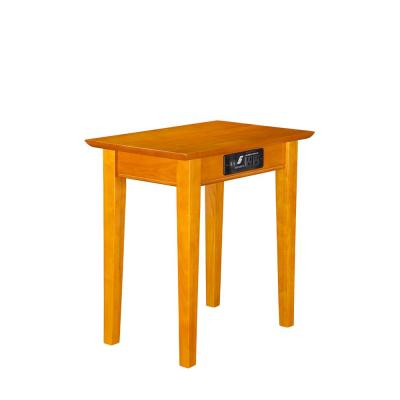 Shaker Caramel Chair Side Table with Charging Station