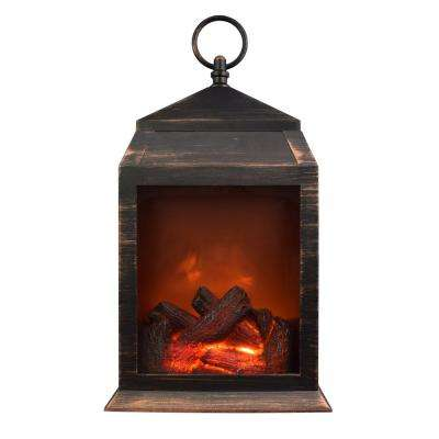 36-Lumen Copper Safe Flameless Fireplace Battery Operated 6-LED Lantern