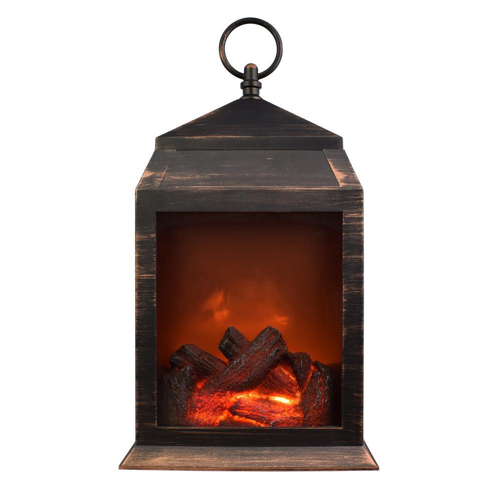 36-Lumen Copper Safe Flameless Fireplace Battery Operated 6-LED Lantern