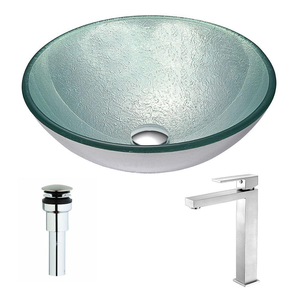 ANZZI Spirito Series Deco-Glass Vessel Sink in Churning Silver with ...