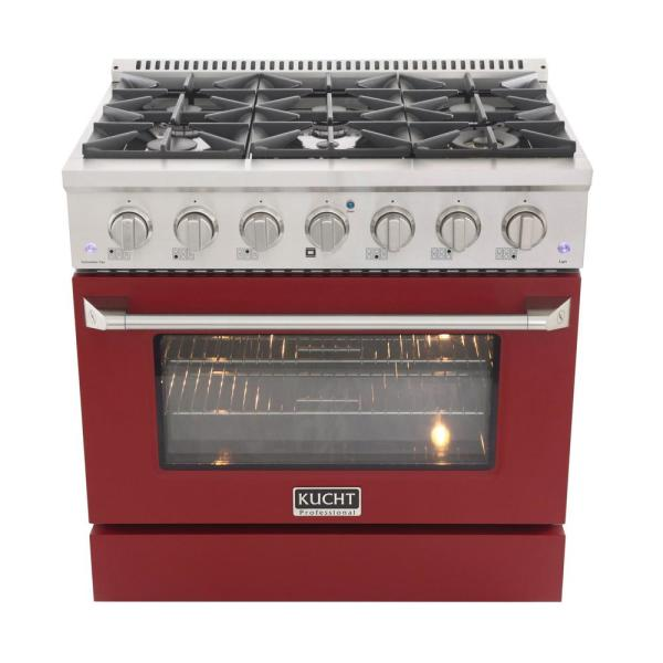 Pro-Style 36 in. 5.2 cu. ft. Propane Gas Range with Convection Oven in Stainless Steel and Red Oven Door