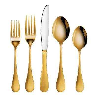 Rain 18/10 Stainless Steel Flatware 20-Piece Set, Gold Finished, Service for 4
