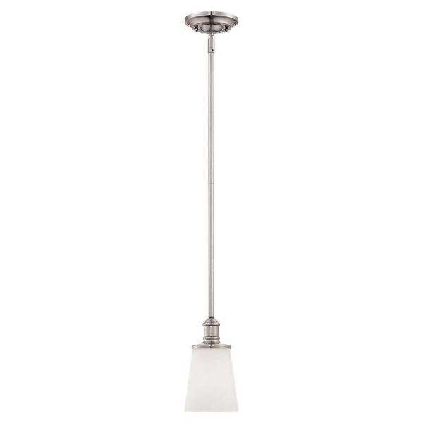 Satin Nickel with Etched White Glass 1 Light Indoor Pendant Light
