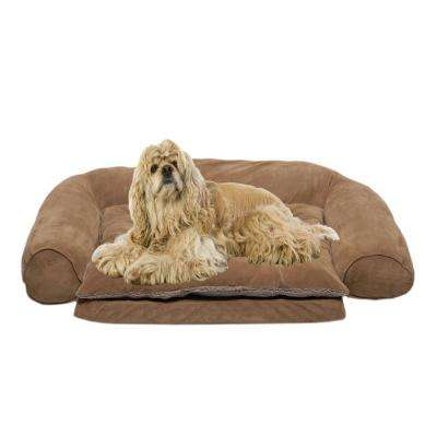 Small Ortho Sleeper Comfort Couch Pet Bed with Removable Cushion - Chocolate