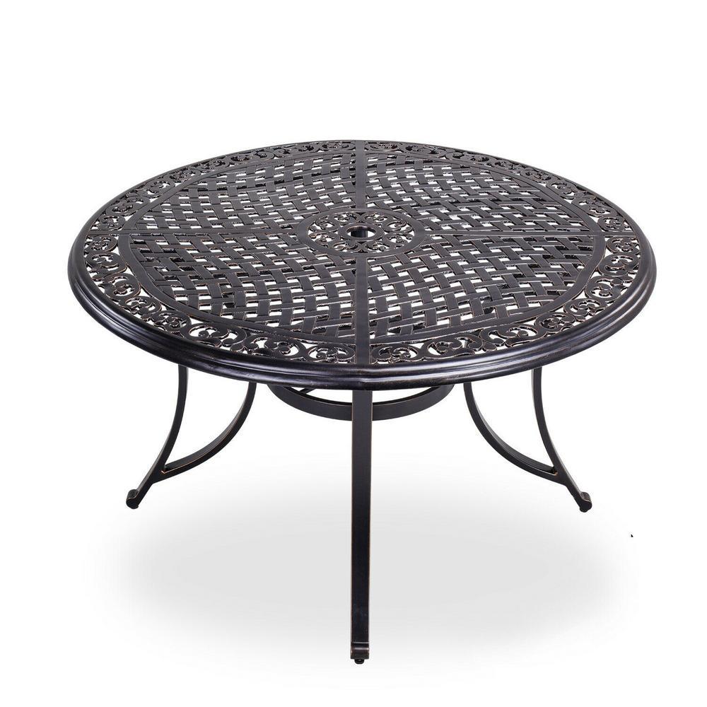 Brown 48 in. Dia. x 28 in. H Round Aluminum Lattice Weave Design Top Patio Dining Table with Umbrella Hole