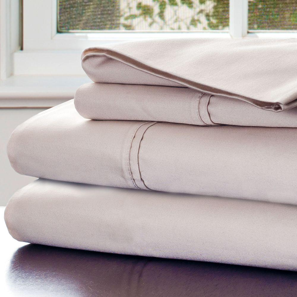 4-Piece Champagne 1000 Count Cotton Sateen King Sheet Set