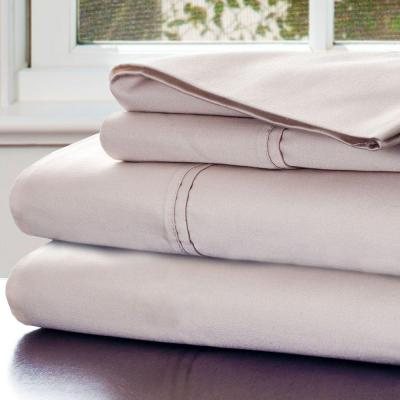 4-Piece Champagne Solid 1000 Thread Count Cotton Blend King Sheet Set