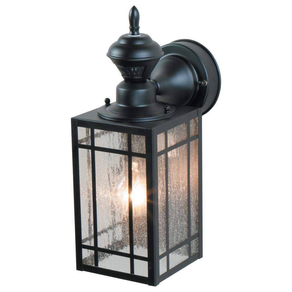 1-Light Black Motion Activated Outdoor Wall Mount Lantern