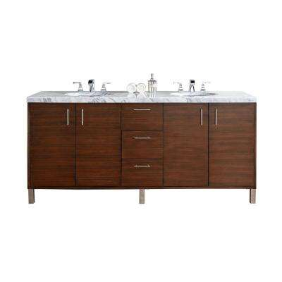 Metropolitan 72 in. W Double Vanity in American Walnut with Marble Vanity Top in Carrara White with White Basin