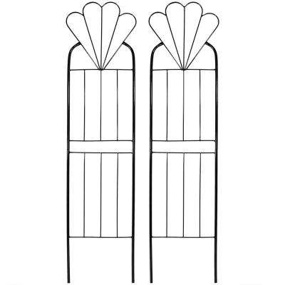 32 in. Black Steel Flower Design Trellis (Set of 2)