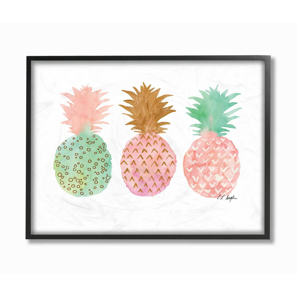 24 in. x 30 in. ''Pink and Mint Patterned Pineapples in a Row'' by Elise Engh Framed Wall Art
