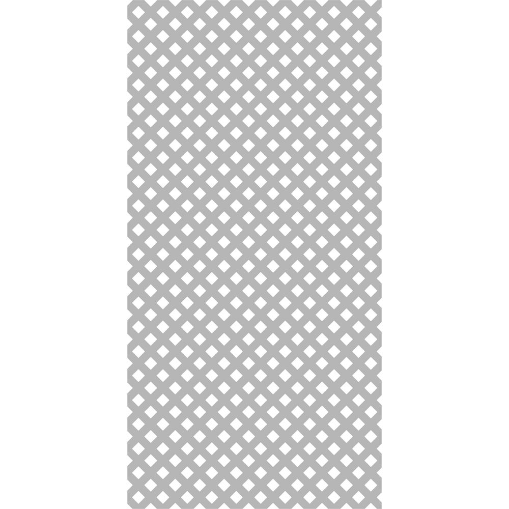 Gridworx 4 ft. x 8 ft. Weathered Gray Privacy Vinyl Lattice (2-Pack)