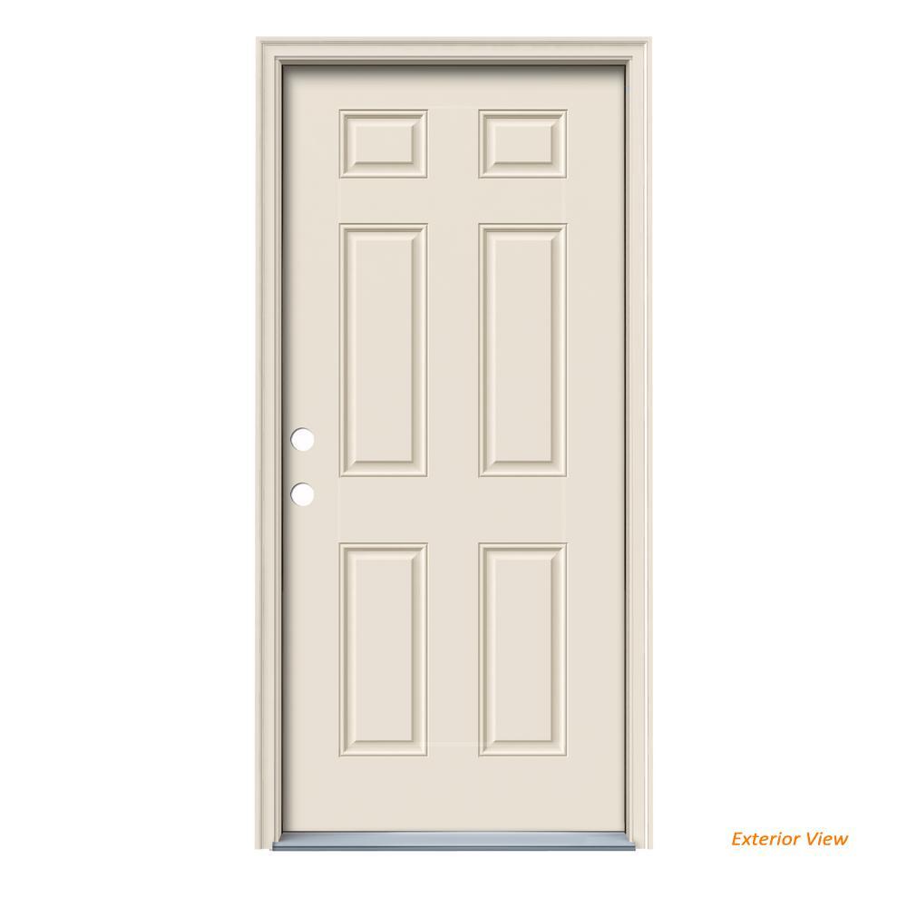 36 in. x 80 in. 6-Panel Primed Right-Hand Inswing Steel Prehung Front Door w/Brickmould