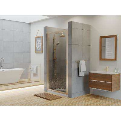 Paragon 27 in. to 27.75 in. x 75 in. Framed Continuous Hinged Shower Door in Brushed Nickel with Aquatex Glass