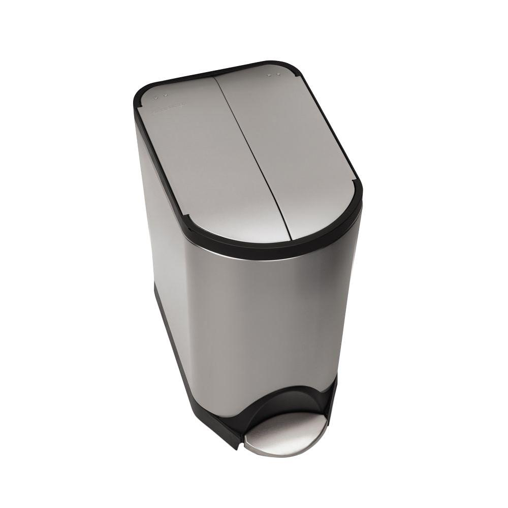 20-Liter Fingerprint-Proof Brushed Stainless Steel Butterfly Step-On Trash Can